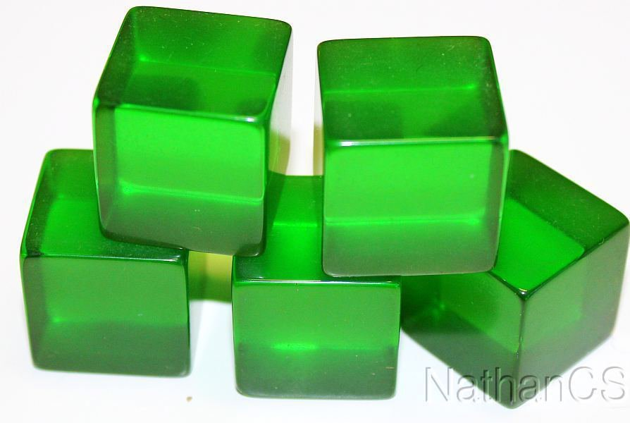 100% Tested Vintage Green Bakelite Faturan Cubes 70+ Years Ideal Tesbih Carving