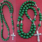 CATHOLIC ROSARY GREEN JADE & STERLING SILVER