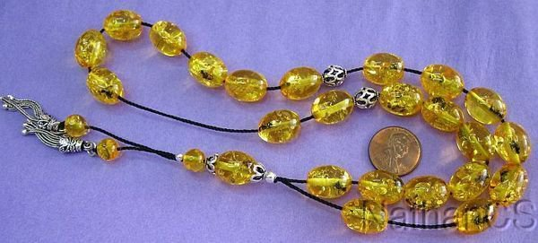 Greek Komboloi Resin with Amber Color and Insects in Each Bead