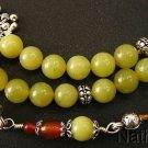 Greek Komboloi Olive Yellow Jade, Carnelian & Sterling Silver