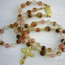 Catholic Rosary Rosenkranz Chapelet Cherry Quartz & Vermeil Gold