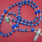 Catholic Rosary Faceted Blue Agate Beads & Sterling Silver Cross and Center