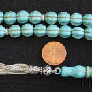 Prayer Beads Tesbih Carved Dragon Turquoise & Sterling - Complete - Rare