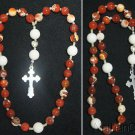 Episcopal Anglican Rosary Red Fire Crackeld Agate, White Jade & Sterling Silver