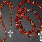 Hand Made Catholic Rosary Rosenkranz Chapelet Red Banded Agate & Sterling Silver
