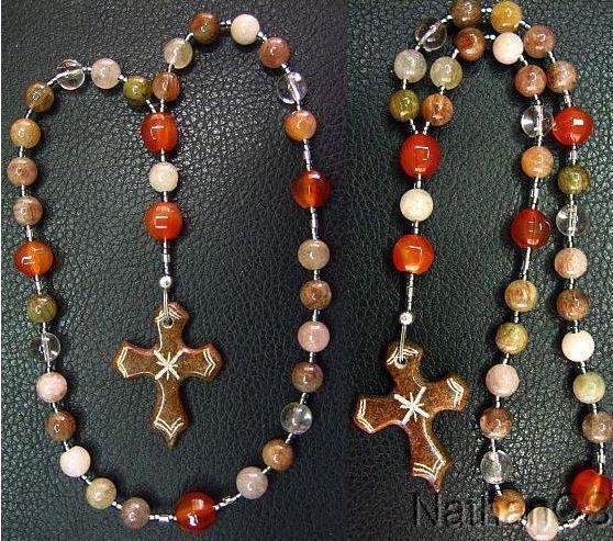 Anglican Rosary w Rutile Quartz & Carnelian Beads & Hand Carved Serpentine Cross