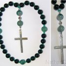 Anglican Episcopal Rosary Prayer Beads Green Jade, Tree Agate & Sterling Silver