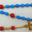 Anglican Episcopal Rosary Turquoise & Coral Beads w Vermeil Cross & Parts