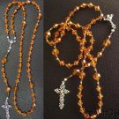 Catholic Rosary Swarovski Amber Crystal Beads w Sterling Silver Cross & Center