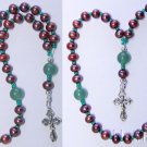 Beaded Chotki Komboskini w Pearl & Jade Beads - Sterling Silver Cross