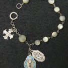 DD.1888 M.O.P First Communion Rosary Bracelet Chaplet Sterling & Enamel Medals