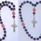 Beaded Chotki Komboskini w Amethyst, Rose Quartz Beads & Sterling Silver Cross