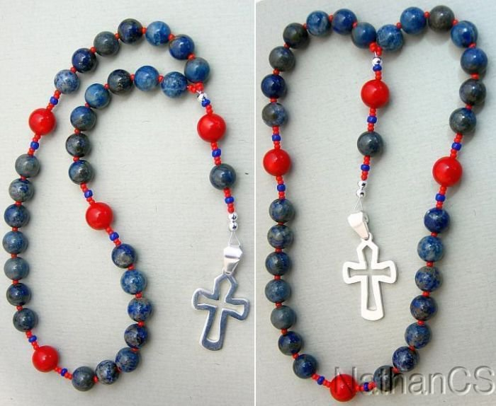 Anglican Episcopal Rosary Denim Lapis & Coral Beads Sterling Silver Cross