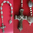 Catholic Open Chaplet Botswana Agate & Serpentine Hand Made Cross