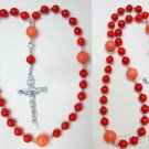 Anglican Episcopal Rosary Coral Beads & Sterling Silver Cross