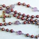 Catholic Rosary Rosenkranz Purple Pearl Amethyst Vintage Enameled Center & Cross