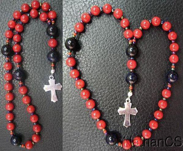 Mini Anglican Episcopal Rosary Coral & Goldstone Beads w Sterling Silver Cross