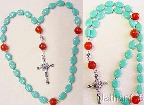 Anglican Episcopal Rosary Turquoise & Agate Beads w Sterling Silver Cross