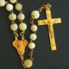 Vintage Catholic Rosary White Bone and  Gold Plated Cross and Center
