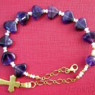 Catholic Rosary Bracelet Amethyst Heart Beads, Pearls & Gold Vermeil