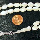 Prayer Beads Tesbih Gebetskette Mother of Pearl Beads & Sterling Silver Tassel