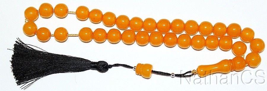 Prayer Beads Tesbih Komboloi Barrel Cut Apricot Color Vintage Faturan Type Resin