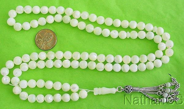 Islamic Prayer Beads 99 Round Mother of Pearl & Sterling Silver Tassel