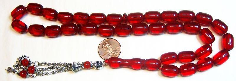 Prayer Beads Komboloi Pommegrenade Red Resin Faturan Like Vintage 1970's