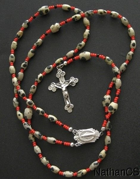 Catholic Rosary Rosenkranz Dalmatian Jasper and Sterling Silver