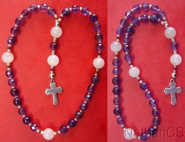 Mini Anglican Rosary w Amethyst & Pink Quartz Beads, Sterling Silver Cross
