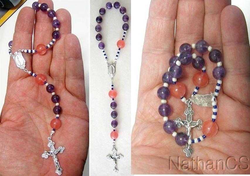 Catholic Travel Rosary Chaplet Rosenkranz Amethyst Rose Quartz & Sterling Silver