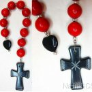 Catholic open Chaplet Red Coral & Black Serpentine