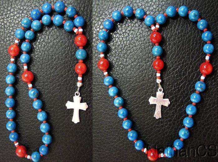 Mini Anglican Rosary Turquoise & Coral Beads w Sterling Silver Cross