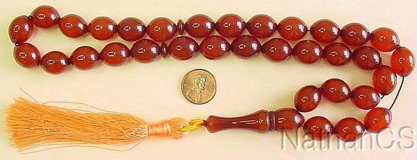 Prayer Worry Beads Komboloi Brown Amber Olive Faturan Type Resin