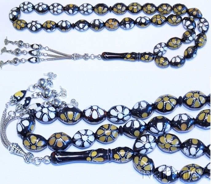 Prayer Worry Beads Tesbih Studded Kuka & inlaid w Bone and Horn +Special Offer+