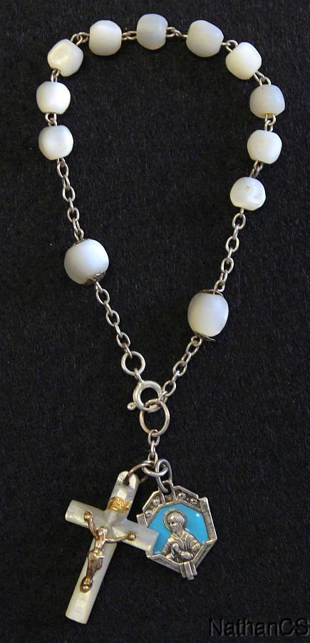 1930�s Communion M.O.P. Rosary Bracelet with Sterling Silver and Enamel Medals