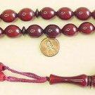 Prayer Worry Beads Komboloi Dark Cherry Olive Faturan Type Resin