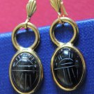 1950 Period Vintage Onyx Scarab Gold Filled Earrings Unusual & Charming