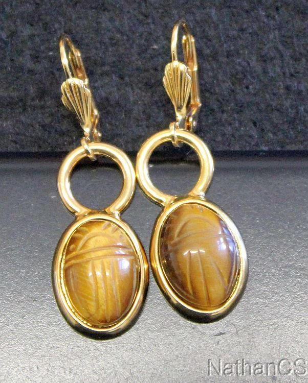 1950 Period Vintage Tiger Eye Scarab Gold Filled Earrings Unusual & Charming