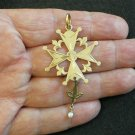 1930's French 18K Gold Pendant Huguenot Large Cross Never Seen Before Exquisite
