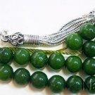 Deep Green Jade & Sterling Silver Greek Komboloi Worry Beads