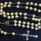 Vintage Catholic Rosary Carved Baltic Amber & Sterling in Leather & Sterling Box