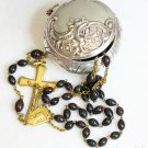 Vintage Bloodstone & Vermeil Catholic Rosary in 1830 Sterling Repoussé Box Rare