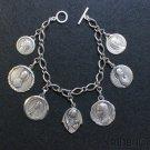 Vintage Heavy All Sterling Charm Bracelet w 7 Rare Large Virgin Mary Medals