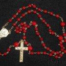 Fatima Catholic Rosary Rosenkranz Red Coral w Vintage Vermeil Cross & Center