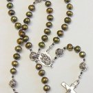 Catholic Rosay Prayer Beads Golden Teal Fresh Water Pearls & Sterling Silver