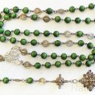 1930's Galalith & Sterling UNIQUE Rosary many Medals, Credo & Reliquary Cross XR