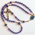 Genuine Round Clear Sapphires w Fatima Vintage Cross & Center Catholic Rosary