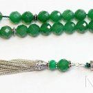 Prayer Beads Tesbih Large Faceted Emeralds & Sterling - Collector's Luxury