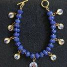 Sapphire & Vermeil Bracelet w 9 Vintage Enameled Miniature Religious Medals